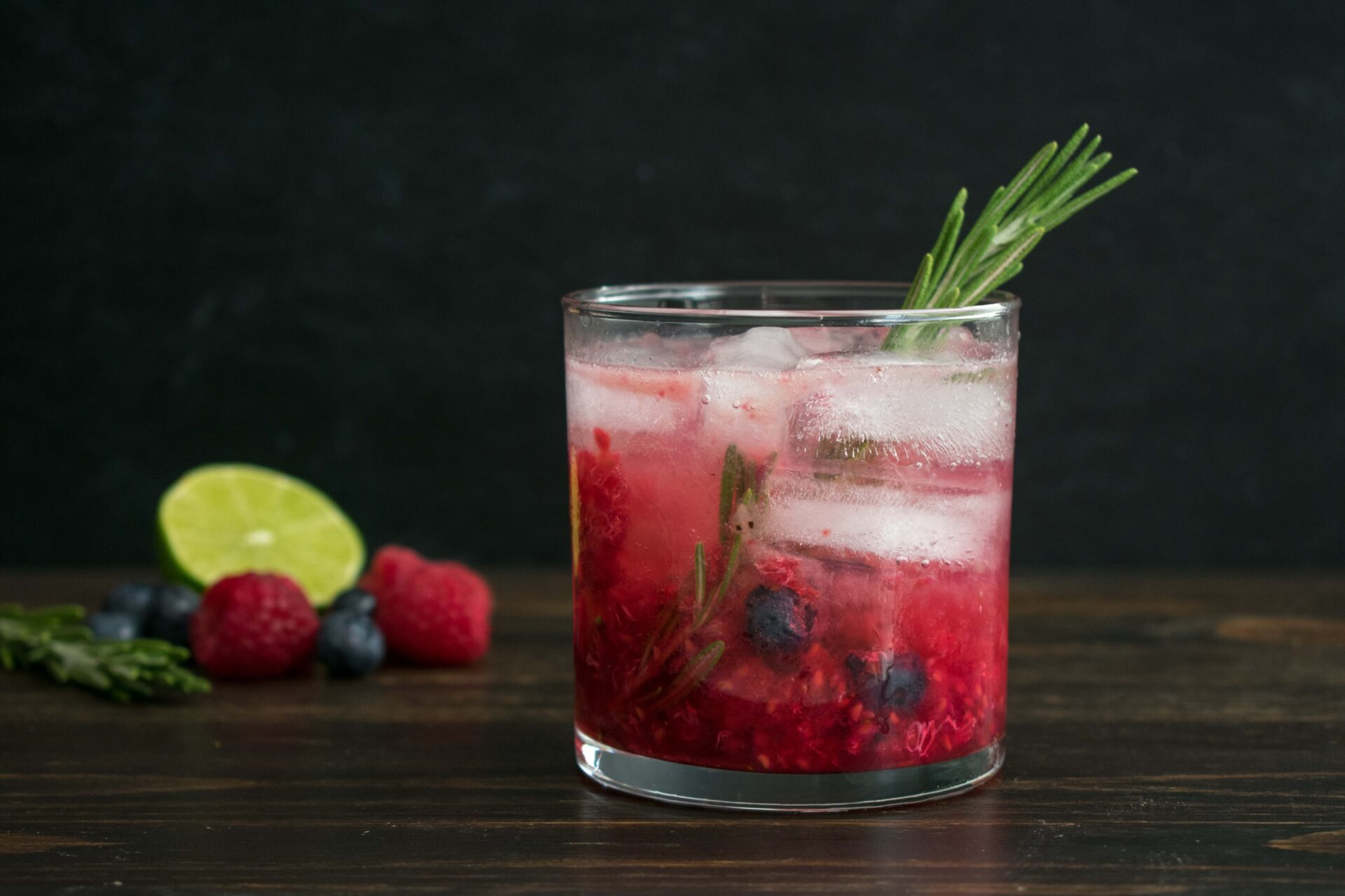Berry and Rosemary Vodka Cocktail on the Rocks